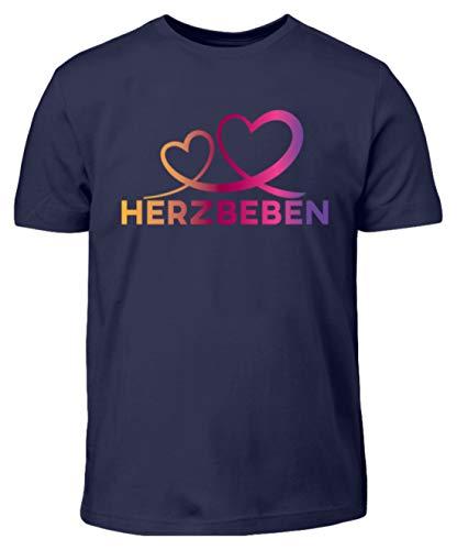 Herzbeben - Bunte Herzen - Liebe Helene - Kinder T-Shirt -12/14 (152/164)-Dunkel-Blau