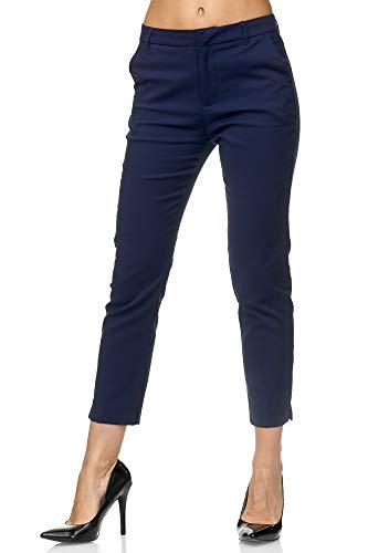 Elara Damen Chino Hose Schicke Slim Fit Stoffhose Chunkyrayan VS19001-3 Dk.Blue-36