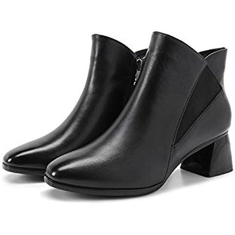 Tempo libero in pelle ladies autunno macchia testa Martin stivali con comfort traspirante scarpe da donna , black , 36