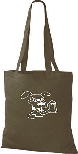 ShirtInStyle Stoffbeutel Hunde Motive Rasse Hund Lustige Tiere Züchter diverse Farbe olive green