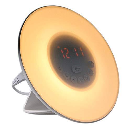 Seitronic Wake up Light | Stimmungs-Licht Wecker | Kinder Radiowecker | Sonnenaufgangsfunktion Led Beleuchtung | Indoor Usb Ladegerät Alarm Weiß