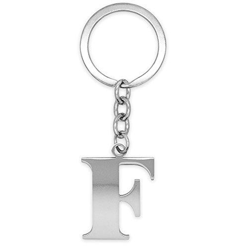 SoulCats Schlüsselanhänger Buchstaben Silber A-Z glänzend Initialen Schlüsselbund Edelstahl, Farbe: Silber, Auswahl: Modell F