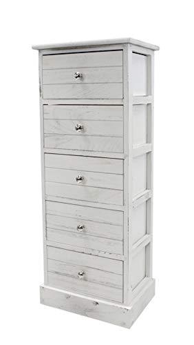DARO DEKO Kommode mit Schubladen weiß antik 35 x 25 x 89 cm - Antike Weiße Schränke