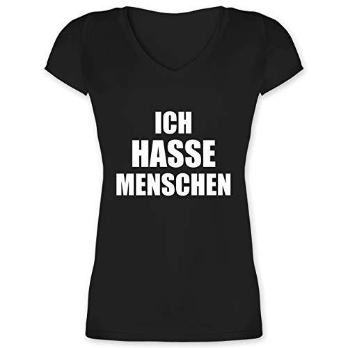 Statement Shirts - Ich Hasse Menschen - XXL - Schwarz - XO1525 - Damen T-Shirt mit V-Ausschnitt -