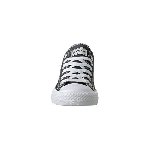 Elara Femmes Baskets Low Loisirs Chaussures de Sport Basic Lacets Gris foncé
