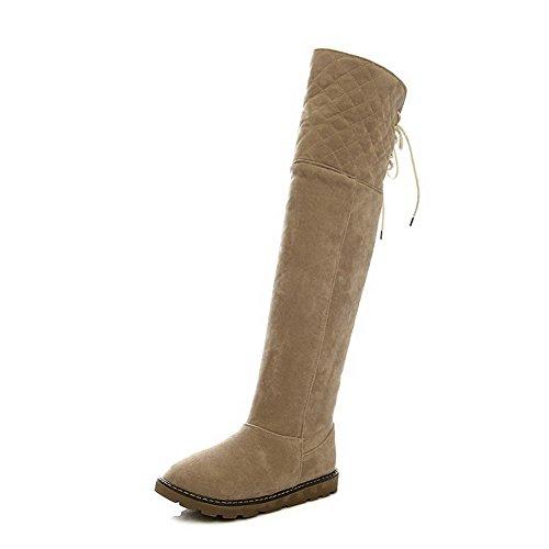 AllhqFashion Damen Rein Niedriger Absatz Schnüren Rund Zehe Stiefel mit Knoten Aprikosen Farbe