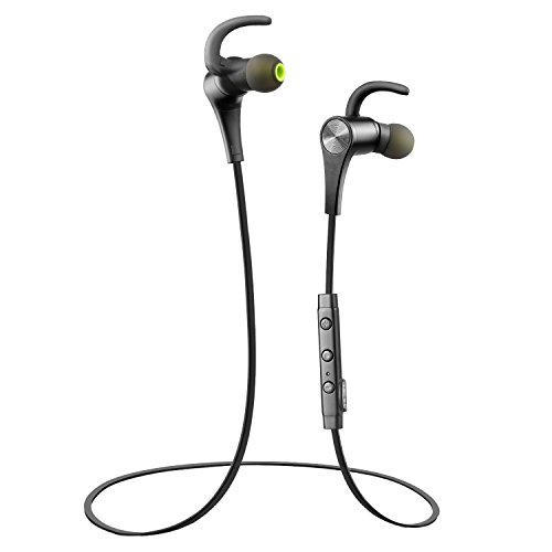 Bluetooth Auricolari Sportivi Impermeabili Resistenti al Sudore SoundPEATS Q12 Bluetooth 4.1 Sports Cuffia Wireless senza fili per Sports, aptX, Magnetico (Nero)