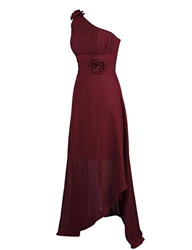 Dressystar Robe femme, Robe soirée, une bretelle, Asymétrique, en Mousseline Corail