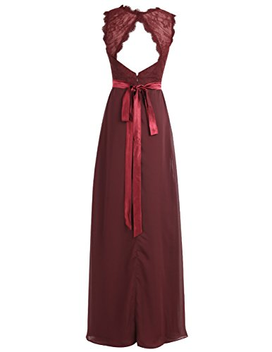 Dresstells Robe de soirée Robe de cérémonie en mousseline dentelle forme empire longueur ras du sol Raisin