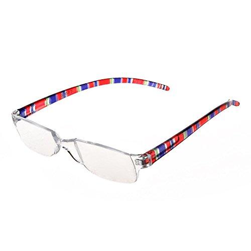 SODIAL(R) Trendige Lesebrille Nerd Brille Lesehilfe Sehhilfe Randlos +2.0 rot Schwarz