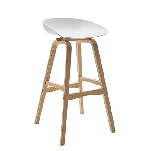 MMLI-Stühle Hoher Schemel Barhocker Stuhl Fußstütze mit ergonomischem Sitz Esszimmerstühle für Küche Restaurant Pub Café Bar Theke | Laden 150kg | Buche Bein Weiß Sitz
