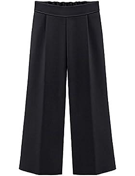 Pantalones Anchos Para Mujer, Palazzo Pantalones Verano Elegante Tallas Grandes Negro (3/4 Longitud) 6XL