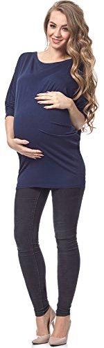 Be Mammy Damen Umstands Bluse BELM156 (Dunkelblau, S)