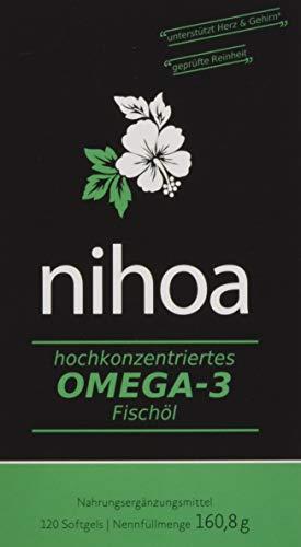 Nihoa Omega 3 Fischöl Kapseln hochdosiert aus Wildfang, kein fischiges Aufstossen, EPA DHA Fettsäuren molekular destilliert, Herz Augen Cholesterin Blutzucker Blutfett Blutdruck, 120 Softgels