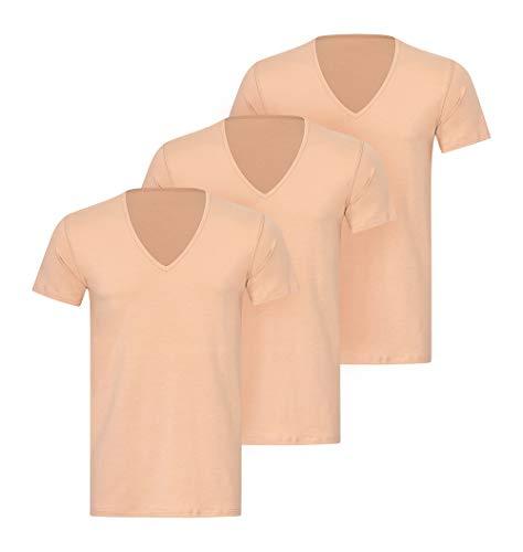 KliSa - 3er-Pack - Business-Unterhemd mit V-Ausschnitt/Unsichtbares Herrenunterhemd/Hautfarbenes T-Shirt (M - Premium-Version)