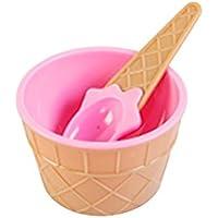 GerTong - Juego de cuencos de plástico para helado con cuchara para niños y niñas, regalo de postre ecológico creativo y duradero, color rosa rosa rosa Size as shown