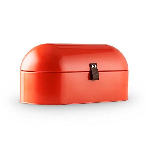 Klappbarer Holz-box (Klarstein Ciabatta Rossa 2 • Brotkasten • Brotbox • pulverbeschichtetes Metallgehäuse • klappbarer Deckel • 14,5 Liter • leichte Befüllung • griffiges Lederband • große Innenfläche • sehr leicht zu reinigen • abgerundete Form • Retro-Look • rot)
