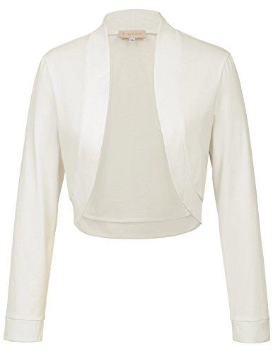 Kate Kasin Vintage Kleidung für Damen Lange Ärmel Elastische Cropped Shrug Jacken Elfenbein 823 S - Ärmel Achselzucken Jacke