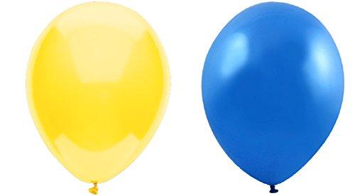 INERRA Globos - Paquete de 50 Mezclado (25 X Amarillo & 25 X Azul) Látex 12' para Globos de Helio o Aire