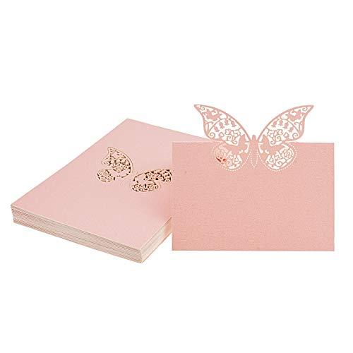 Flowow 50* rosa farfalla scheda laser taglio tavolo intagliato nome luogo carte cartolina segnaposto segnatavolo bomboniera per guest compleanno matrimonio natale segna segnaposti nozze partito favor