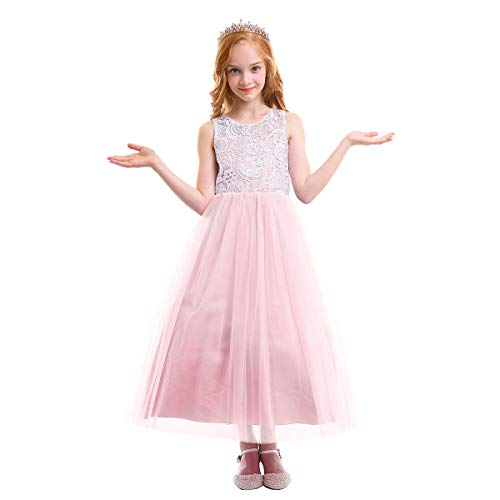 49f8cf204864 OBEEII Vestito Elegante da Ragazza Festa Cerimonia Matrimonio Damigella  Donna Sposa Prima Comunione Battesimo Carnevale Ballerina