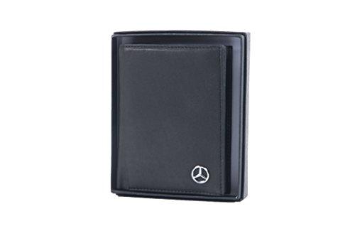 Mercedes-Benz Geldbörse Herren schwarz Rindsleder Genuine Soft Leather 9.5 x 12 cm (H-L) (Mercedes Vertical)
