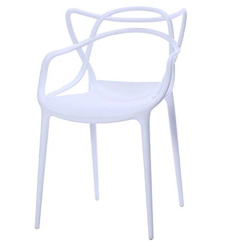 PLL Nordischen Stil Zurück Haushalt Kunststoff Stuhl Erwachsene Hocker Moderne Einfache Esszimmer Stuhl (Color : White) (Hocker Bar Schlafzimmer Esszimmer)