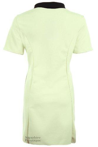 Femmes Uni Peter Pan Col Manche Courte Contraste Pour Dames Plus Robe Moulante Menthe
