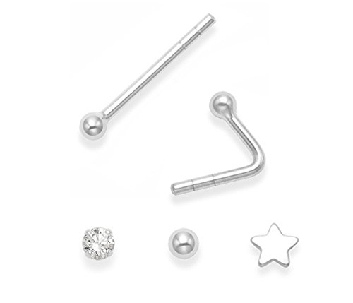Heather Needham Silver - 3 Piercing singoli per naso in argento sterling: pallina, stella e zirconia cubica; dimensioni: 2 e 3 mm