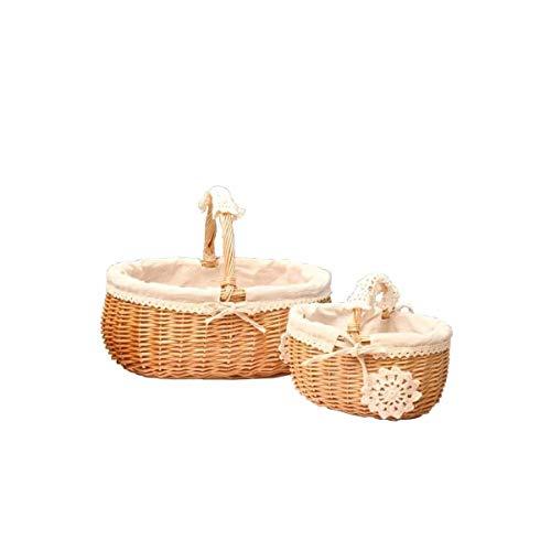 Xingganglengyin Brotkorb-Stoff-Speicher-Rattan-Rahmen-Netter Bambuskorb-Frucht-Korb-Weidenkorb-Bambus-runder Wäschekorb-Geschenk-Schmutz-Korb-Bambus-Blau (Color : Yellow, Size : Small) -
