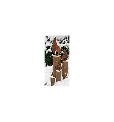 Metallmichl Edelrost 4er Pack Flamme aus Metall 10 cm – Edelrostflamme – Rostige Flamme – Weihnachtsdeko selber Machen – DIY