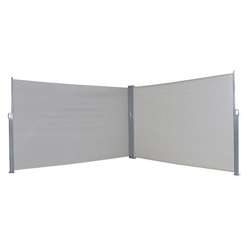 MCTECH® Doppel-Seitenmarkise zertifiziert Sonnenschutz Sichtschutz Windschutz Terrasse Markise Polyester (1.6*6m, Grau)
