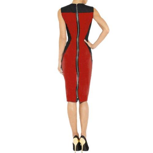 Klassische Damen Rundhals aermellos Spleiss-Farbe Etuikleid Rot