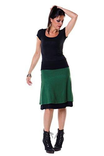 Große Größen schwarzer Rock Damen knielang Damenrock 3 Elfen, langer Sommerrock, A Linie Tellerrock Plus Size Sommer Winter 3XL tannengrün (Rock Langer Plus Size Rock)