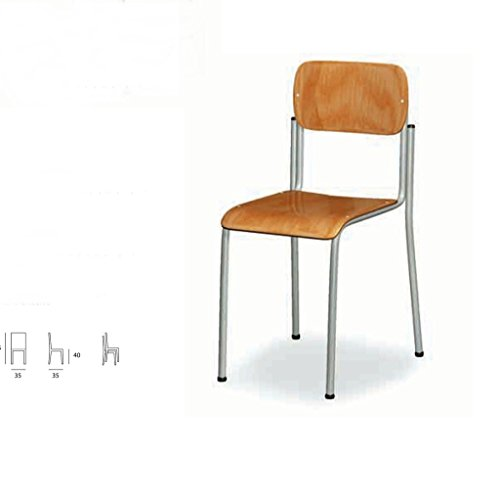Schule Stuhl. Größe: W 35 D 35 Sitzhöhe 40 Höhe 65 Struktur: Rohrrahmen mit polymerisierten Epoxy lackiert. Strukturfarben: grau. Zurück: aus Buchenholz, anatomischer Mehrformung. Sitzen: ein Kanal mit einem gebogenen vorderen Buchenholz. Made in Italy (Rohrrahmen)
