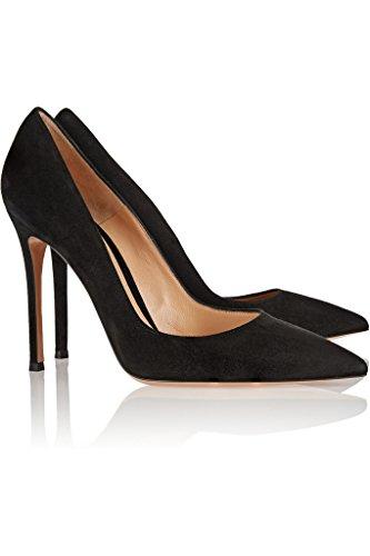 EDEFS Femmes Artisan Fashion Escarpins Délicats Classiques Elégants Pointus Des Couleurs Chaussures à talon de 100mm Noir Brillant Noir Suède