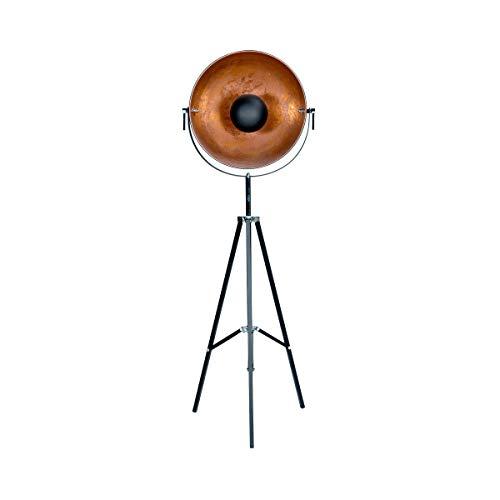 BUTLERS Satellight Standleuchte aus Metall 165x60 cm - Stehlampe in Schwarz-Gold - Lampe im Retro Factory-Design -