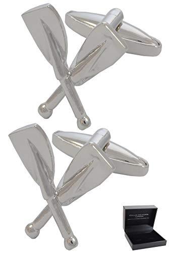 COLLAR AND CUFFS LONDON - Hochwertige Manschettenknöpfe mit Geschenk Box - Rudern - Stilvolle Messing - Silber Farbe - Ruder Boot Kanusport Kajakfahren Maritim Marine