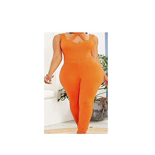 QIANZHIHED Kleid Frauen Hohlen Frauen Einfarbig Low-Cut Hängenden Hals Lässig Overall Rückenfreie Schlanke Hose, M -