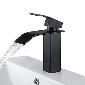Kaibor Waschtischarmatur schwarz Waschbeckenarmatur Wasserfall Bad Wasserhahn Einhebelmischer Waschtischbatterie Armatur Bad Mischbatterie für modernes Badezimmer