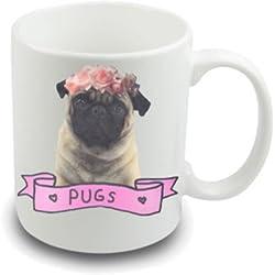 Tazas de té y perros carlino de cerámica,