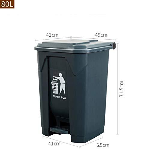AJZXHE Pattumiera all'aperto Pattumiera di plastica con Piedini per rifiuti Cestino (Color : Gray, Size : 80L)
