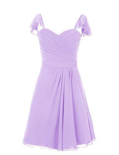 Dresstells, robe courte de demoiselle d'honneur, robe de cocktail mousseline col en cœur Lavande