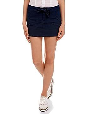 oodji Ultra Mujer Falda de Algodón con Cordones