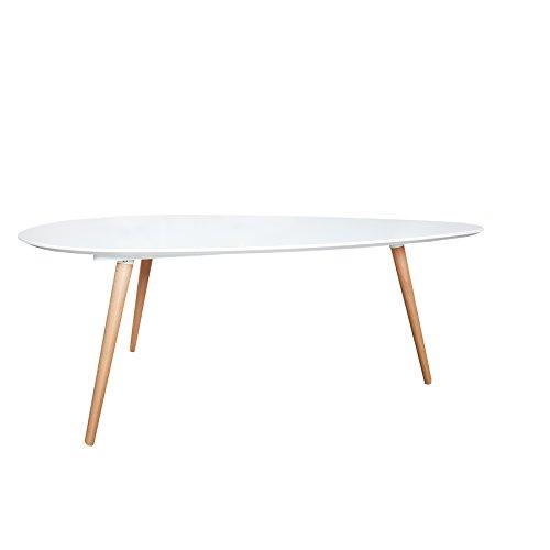 Retro Couchtisch SCANDINAVIA MEISTERSTÜCK 115cm weiß Buche nierenförmig Beistelltisch Holztisch Tisch
