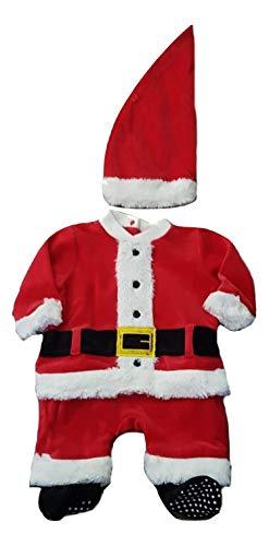 PICCOLI MONELLI Vestito Babbo Natale Neonato a Tutina Intera in ciniglia con Cappello tg 1-3 Mesi cm 50-55