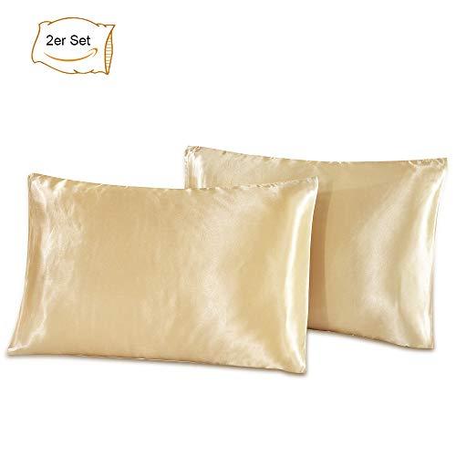 Zorara Kissenbezüge 30 x 50 cm - 2 Stück Satin Kissenbezug Kopfkissenbezüge Kissenbezug Kissenhülle aus hochwertige Mikrofaser für Haar- und Hautpflege (Champagner) (Satin Kissenbezug Echtes)