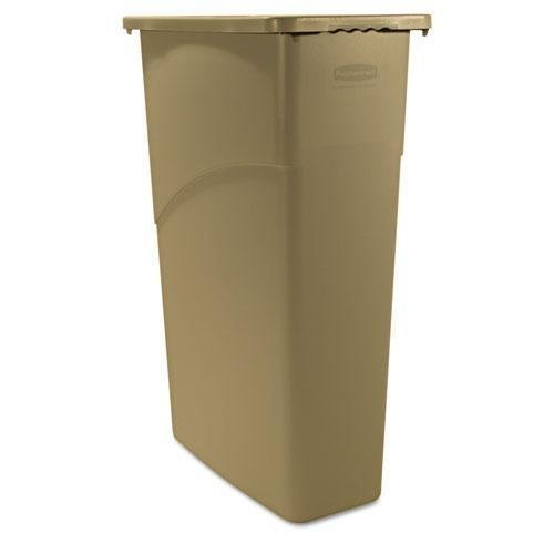 slim-jim-waste-container-rectangular-plastic-23gal-beige-sold-as-1-each-by-rubbermaid-commercial-pro