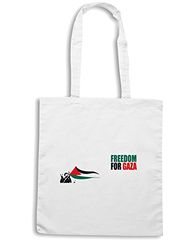 T-Shirtshock - Borsa Shopping TM0568 Freedom for Gaza Bianco