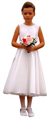 deine-Brautmode Kommunionkleid Spitze Kleid 3/4 Spitzenkleid Kommunion, Unterrock, Marie 140